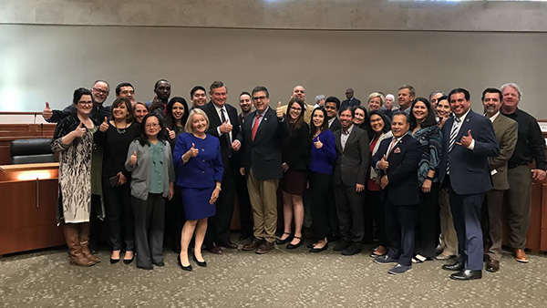 Group photo of Inaugural President's Leadership Academy with Chancellor Timothy P. White, President Joseph I. Castro and former Provost Lynette Zelezny.