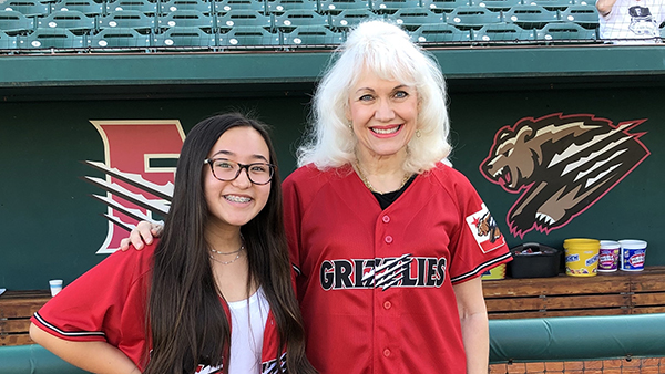 Dr. Carol Fry Bohlin with her mentee, Isabela Hamasaki, a junior at Mendota High School.