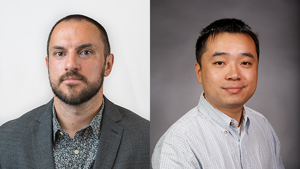 Dr. Vadim Keyser, left, from the Department of Philosophy and Dr. Zhi Liang from the Department of Mechanical Engineering.