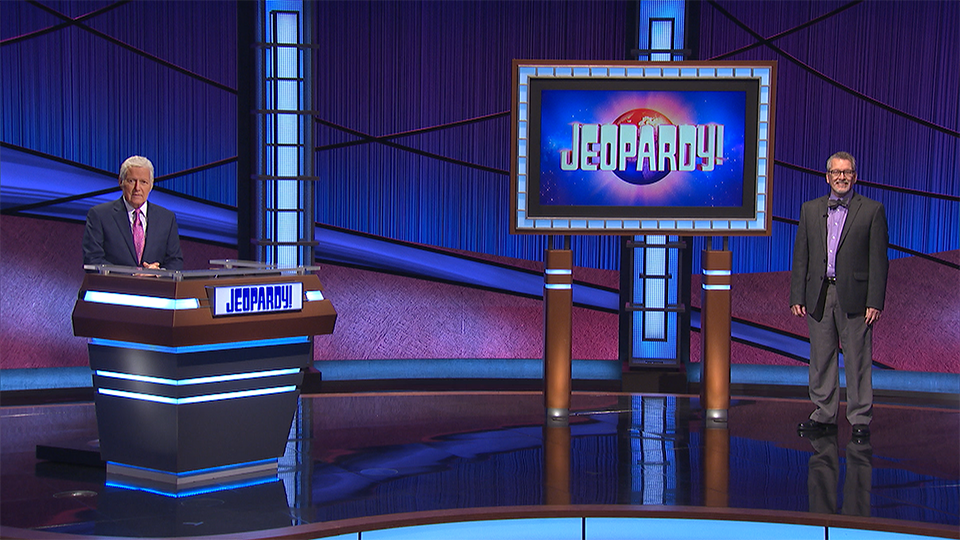 "Dr. Frederick Nelson appears on one of the last taped episodes of ""Jeopardy!"" with host Alex Trebek."