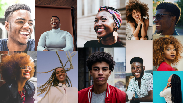 Photo collage of African American men and women with their natural hair.