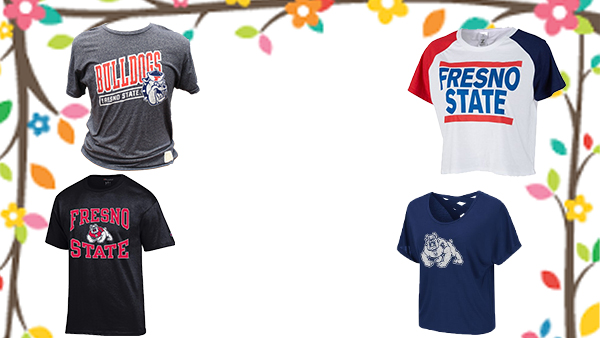 Four Fresno State shirts in each corner of the photo in blue, black, grey, and white.