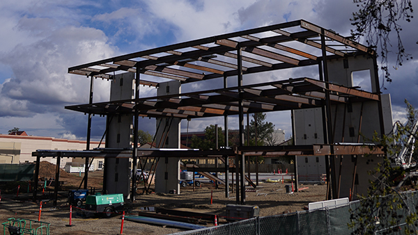 Steel beams are up at the site of the new Resnick Student Union.