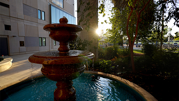 The fountain in the Leo Politi Garden outside the Henry Madden Library at Fresno State.