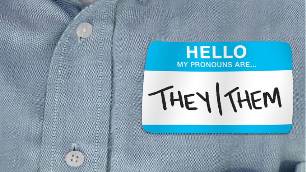 Name sticker with the words Hello, my pronouns are they/them.