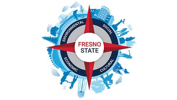 Fresno State Sustainability seal in red and blue. Environmental, economic, social, and cultural are the words on the circle.