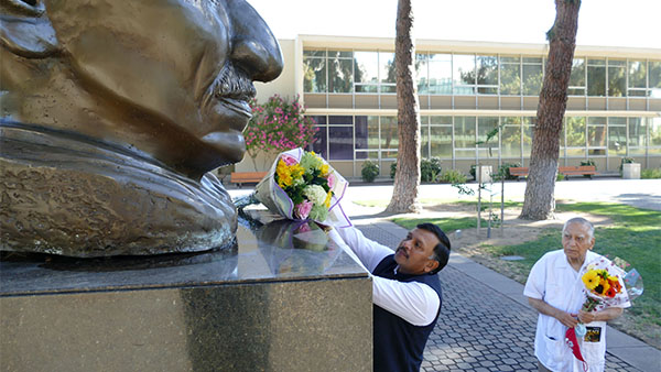 Dr. T.V. Nagendra Prasad, Consul General of India paid homage to Mahatma Gandhi with Dr. Sudarshan Kapoor in the Peace Garden at Fresno State.