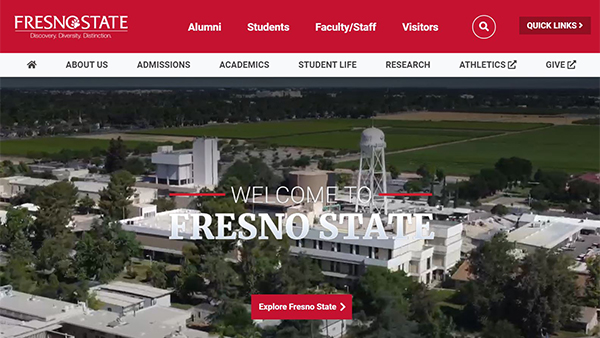 Screenshot of the new fresnostate.edu home page.