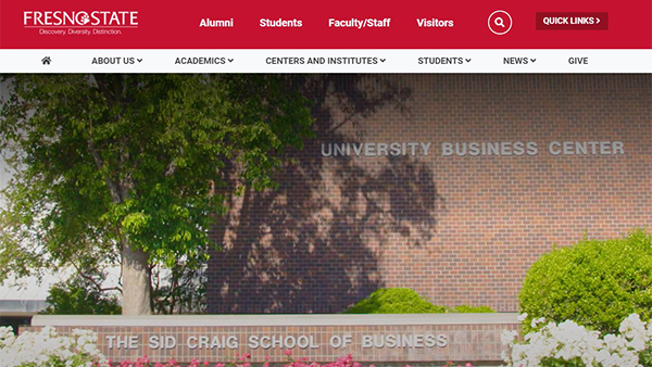 Screenshot of the new Craig School website