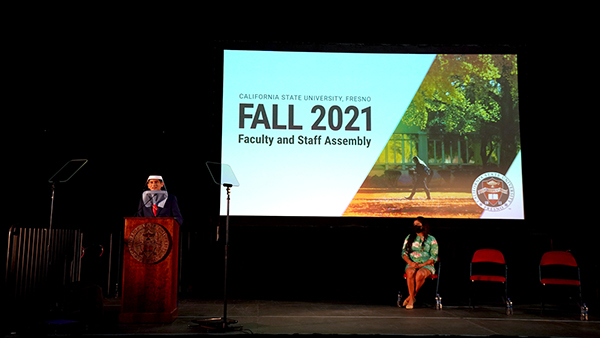 President Saul Jimenez-Sandoval, on stage for fall 2021 faculty and staff assembly