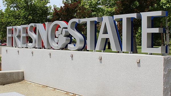 Fresno State sign.