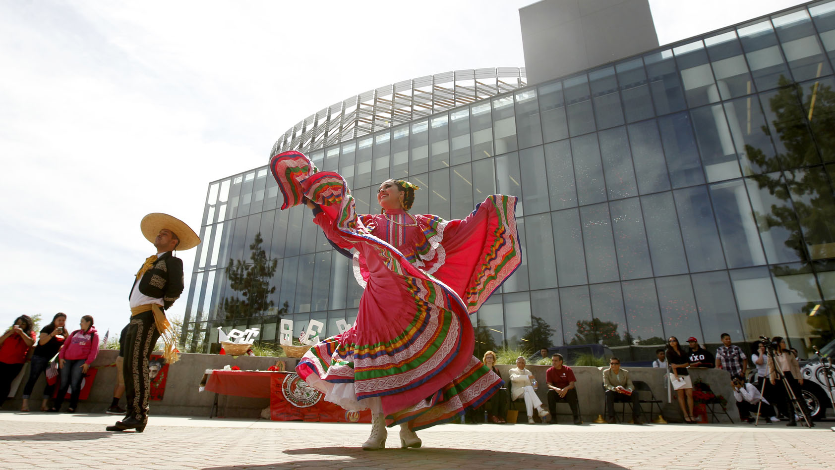 Dancers in front of library