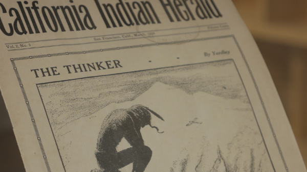 Newspaper, California Indian Herald, with a photo of an Indian man hunched over with the title The Thinker.