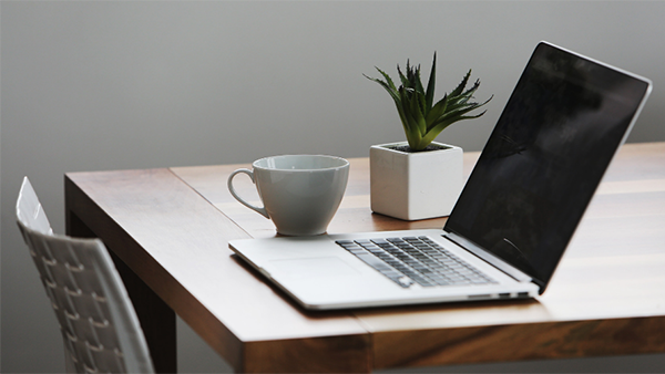 laptop on a table with tea cup and plant.